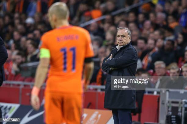 coach Dick Advocaat of Holland during the FIFA World Cup 2018 qualifying match between The Netherlands and Sweden at the Amsterdam Arena on October...