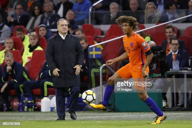 coach Dick Advocaat of Holland Nathan Ake of Holland during the FIFA World Cup 2018 qualifying match between The Netherlands and Sweden at the...