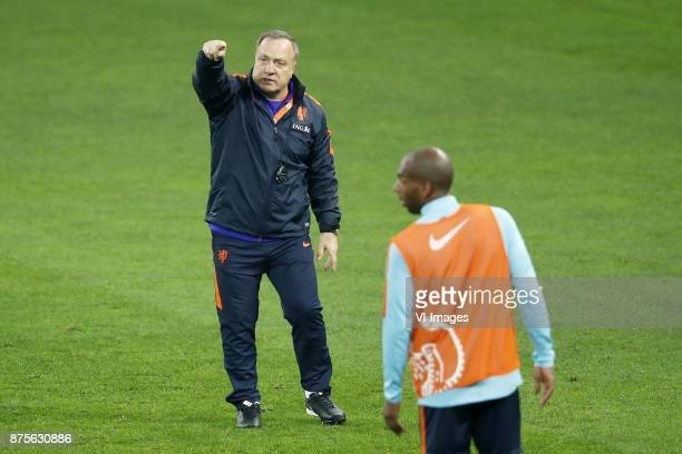 coach Dick Advocaat of Holland Ryan Babel of Holland during a training session prior to the friendly match between Romania and The Netherlands on...