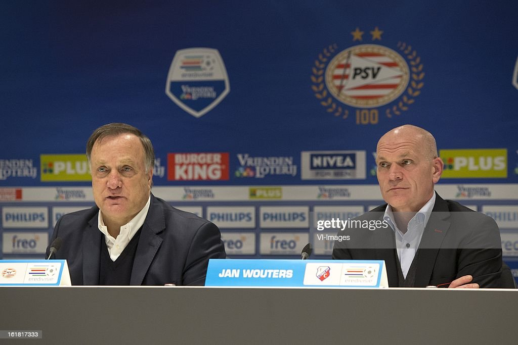 Coach Dick Advocaat of PSV, Coach Jan Wouters of FC Utrecht during the Dutch Eredivisie match between PSV Eindhoven and FC Utrecht at the Philips Stadium on february 16, 2013 in Eindhoven, The Netherlands