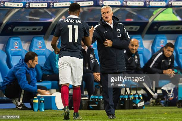 Coach Didier Deschamps of France thanks Anthony Martial of France during the International friendly match between France and Germany on November 13...
