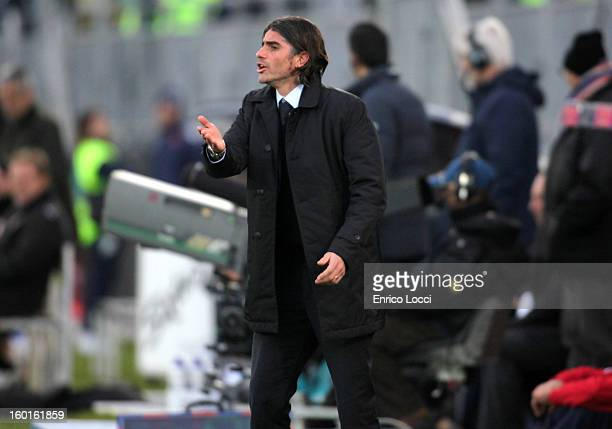 2° Coach Diego Lopez of Cagliari looks on during the Serie A match between Cagliari Calcio and US Citta di Palermo at Stadio Sant'Elia on January 27...