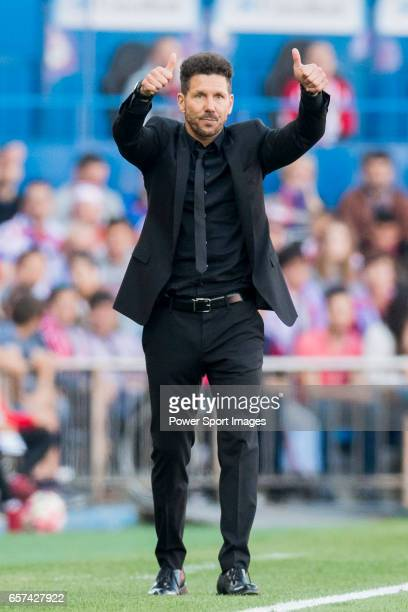 Coach Diego Simeone of Atletico de Madrid gives thumbs up during their La Liga match between Atletico de Madrid and Sevilla FC at the Estadio Vicente...