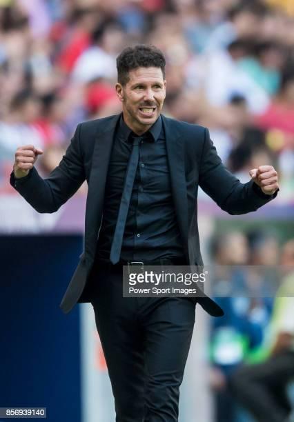 Coach Diego Simeone of Atletico de Madrid reacts during the La Liga 201718 match between Atletico de Madrid and Sevilla FC at the Wanda Metropolitano...