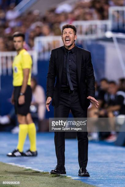 Coach Diego Simeone of Atletico de Madrid reacts during the La Liga 201718 match between CD Leganes and Atletico de Madrid on 30 September 2017 in...