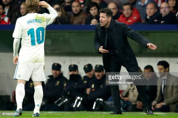 coach Diego Simeone of Atletico Madrid during the Spanish Primera Division match between Atletico Madrid v Real Madrid at the Estadio Wanda...