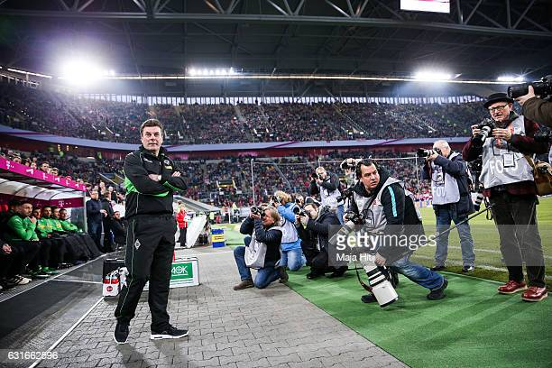 Coach Dieter Hecking of Moenchengladbach looks on prior Telekom Cup 2017 match between Borussia Moenchengladbach and 1 FSV Mainz 05 at EspritArena on...