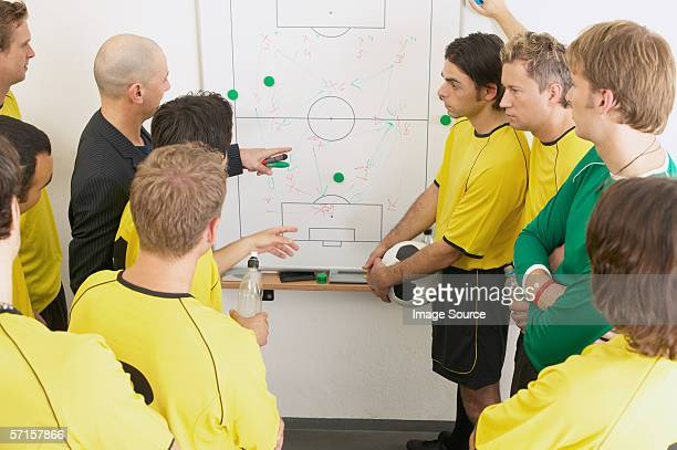 Coach discussing strategy with soccer team