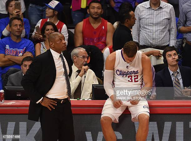 Coach Doc Rivers and forward Blake Griffin of the Los Angeles Clippers are pictured during game six against the Houston Rockets in the second round...
