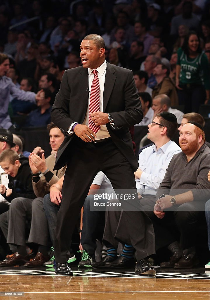 Coach <a gi-track='captionPersonalityLinkClicked' href=/galleries/search?phrase=Doc+Rivers&family=editorial&specificpeople=206225 ng-click='$event.stopPropagation()'>Doc Rivers</a> of the Boston Celtics works the game against the Brooklyn Nets at the Barclays Center on November 15, 2012 in the Brooklyn borough of New York City.