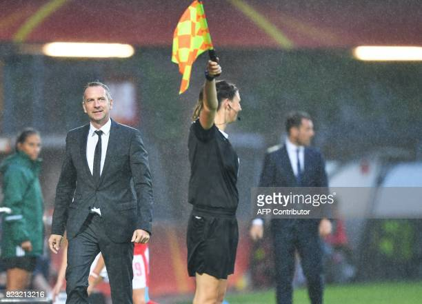 Coach Dominik Thalhammer of Austria during the UEFA Womens Euro 2017 football tournament match between Iceland and Austria at Sparta Stadium in...