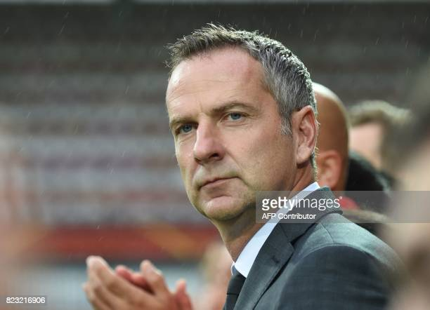 Coach Dominik Thalhammer of Austria looks on prior to the UEFA Womens Euro 2017 football tournament match between Iceland and Austria at Sparta...