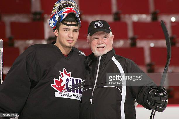 Coach Don Cherry and goalie Carey Price practice for the annual Top Prospects game Skills competition at the Pacific Coliseum on January 17 2005 in...
