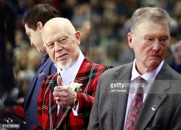 Coach Don Cherry looks on from the bench during the CHL/NHL Top Prospects Game January 28 2016 at Pacific Coliseum in Vancouver British Columbia...