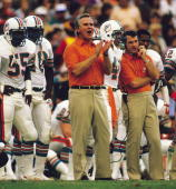 Coach Don Shula of the Miami Dolphins during a game against the Los Angeles Raiders on December 2 l984 in Miami Florida