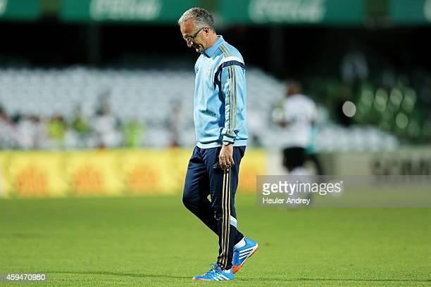 Coach Dorival Junior of Palmeiras during the match between Coritiba and Palmeiras for the Brazilian Series A 2014 at Couto Pereira stadium on...