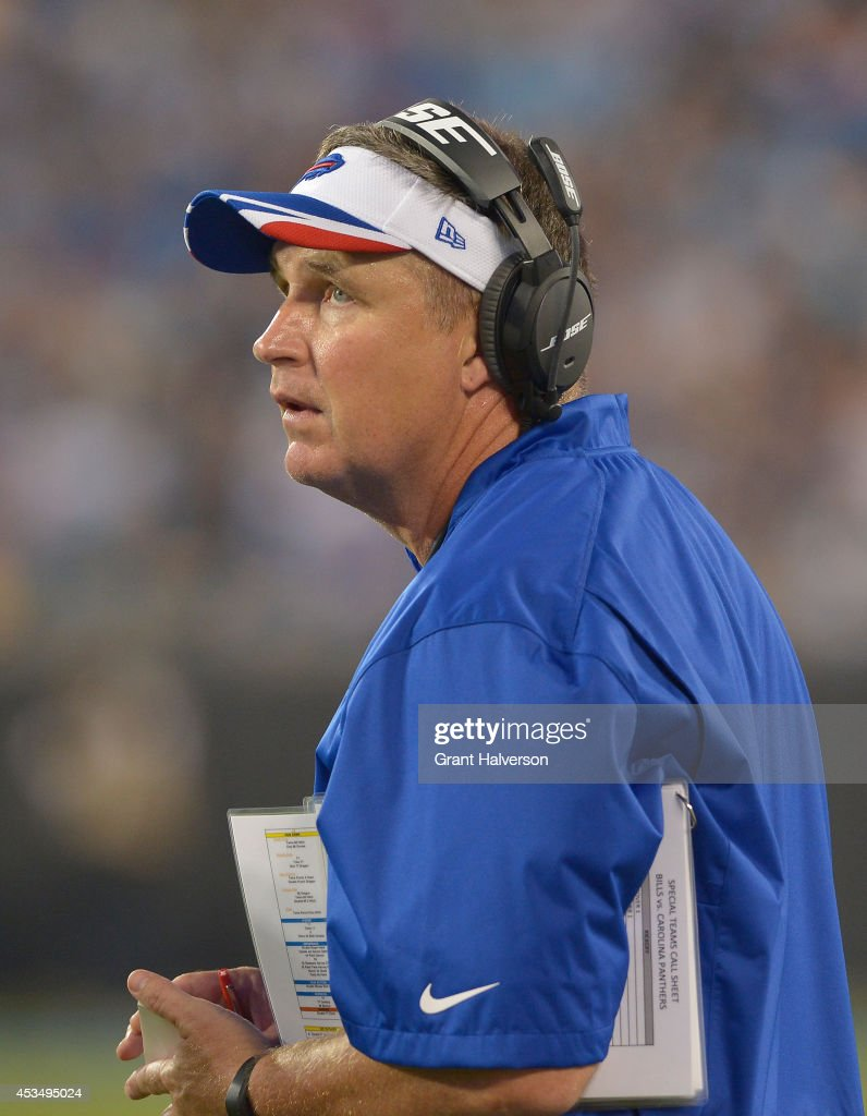 Coach <a gi-track='captionPersonalityLinkClicked' href=/galleries/search?phrase=Doug+Marrone&family=editorial&specificpeople=748952 ng-click='$event.stopPropagation()'>Doug Marrone</a> of the Buffalo Bills during their game against the Carolina Panthers at Bank of America Stadium on August 8, 2014 in Charlotte, North Carolina. Buffalo won 20-18.