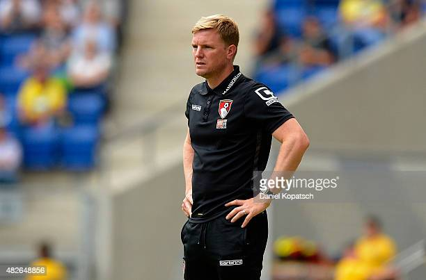Coach Eddie Howe of Bournemouth reacts during the friendly match between 1899 Hoffenheim and AFC Bournemouth at Wirsol RheinNeckarArena on August 1...