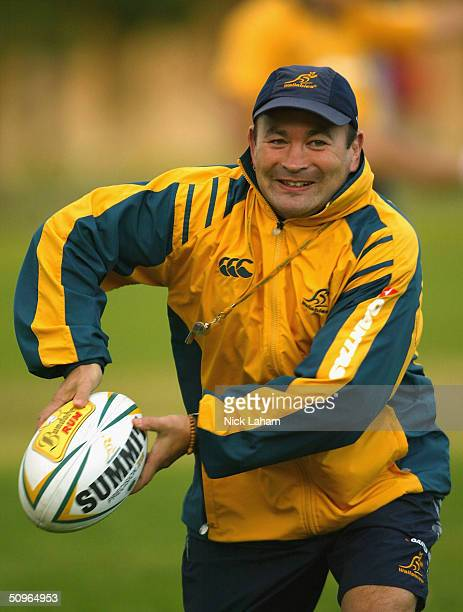 Coach Eddie Jones in action during the Ausralian Wallabies training session at Victoria Barracks June 16 2004 in Sydney Australia