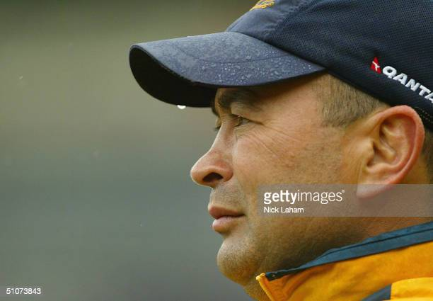 Coach Eddie Jones watches on during the Australian Wallabies Captains Run at Westpac Stadium July 16 2004 in Wellington New Zealand