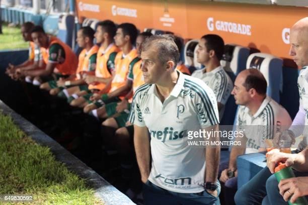 Coach Eduardo Baptista of Brazil's Palmeiras gestures during their Copa Libertadores football match with Argentina's Atletico Tucuman in the Jose...