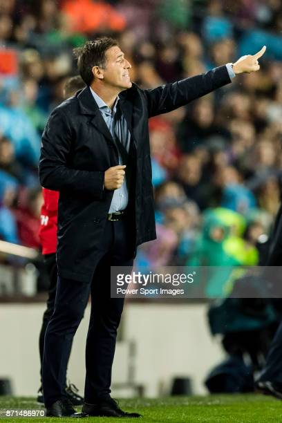 Coach Eduardo Berizzo of Sevilla FC gestures during the La Liga 201718 match between FC Barcelona and Sevilla FC at Camp Nou on November 04 2017 in...