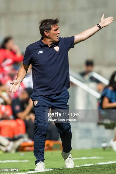 Coach Eduardo Berizzo of Sevilla FC reacts during the La Liga 201718 match between Atletico de Madrid and Sevilla FC at the Wanda Metropolitano on 23...