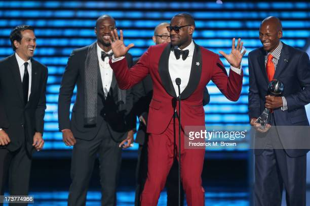 NBA coach Erik Spoelstra Dwyane Wade LeBron James and Ray Allen accept the award for Best Game onstage at The 2013 ESPY Awards at Nokia Theatre LA...
