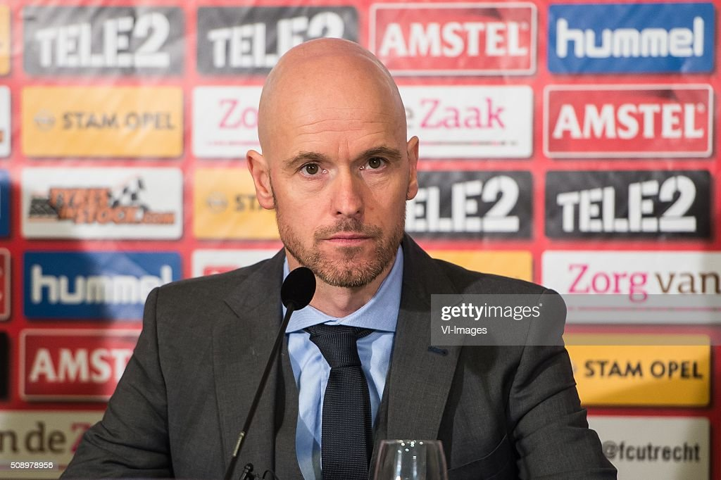 coach Erik ten Hag of FC Utrecht during the Dutch Eredivisie match between FC Utrecht and PSV Eindhoven at the Galgenwaard Stadium on February 07, 2016 in Utrecht, The Netherlands