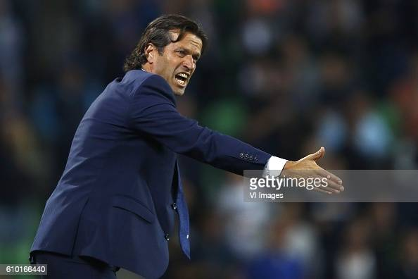 coach Ernest Faber of FC Groningen during the Dutch Eredivisie match between FC Groningen and Heracles Almelo at Euroborg on September 24 2016 in...