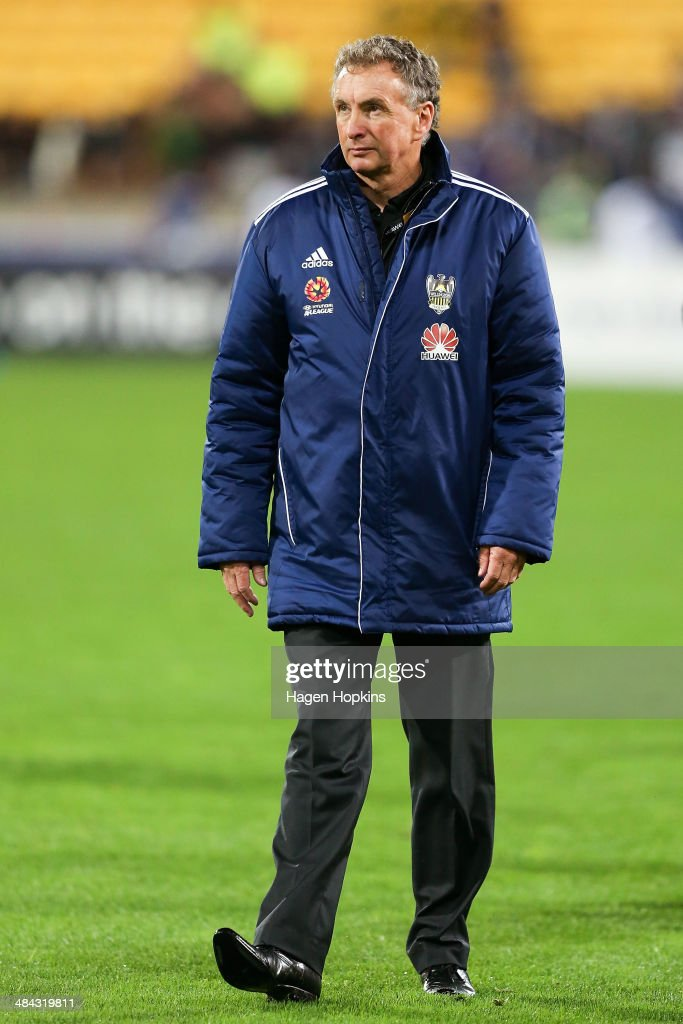 Coach Ernie Merrick of the Phoenix leaves the field after the final whistle during the round 27 A-League match between Wellington Phoenix and Melbourne Victory at Westpac Stadium on April 12, 2014 in Wellington, New Zealand.