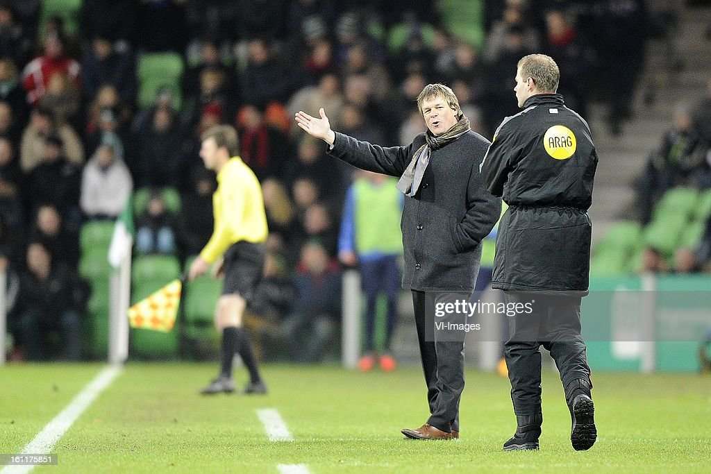Coach Erwin Koeman of RKC Waalwijk, Fourth official Rob Dieperink during the Dutch Eredivisie match between FC Groningen and RKC Waalwijk at the Euroborg on february 9, 2013 in Groningen, The Netherlands