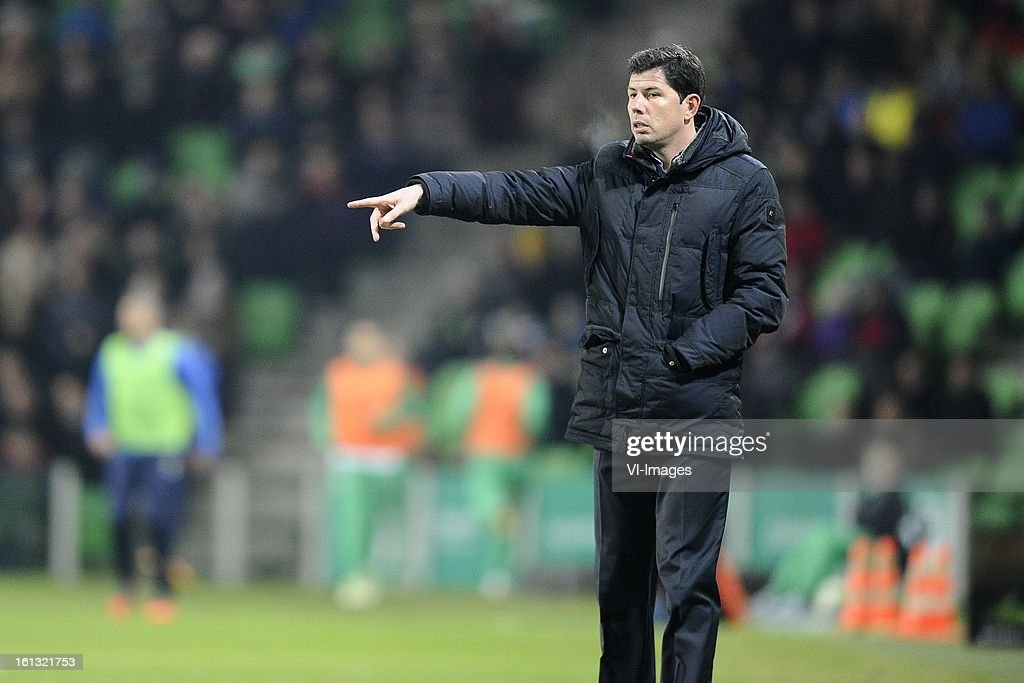 Coach Erwin van de Looi of FC Groningen, during the Dutch Eredivisie match between FC Groningen and RKC Waalwijk at the Euroborg on february 9, 2013 in Groningen, The Netherlands
