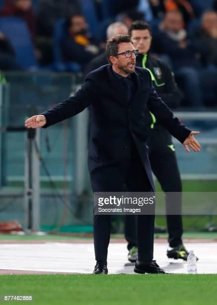 coach Eusebio Di Francesco of AS Roma during the Italian Serie A match between AS Roma v Lazio at the Stadio Olimpico on November 18 2017 in Rome...