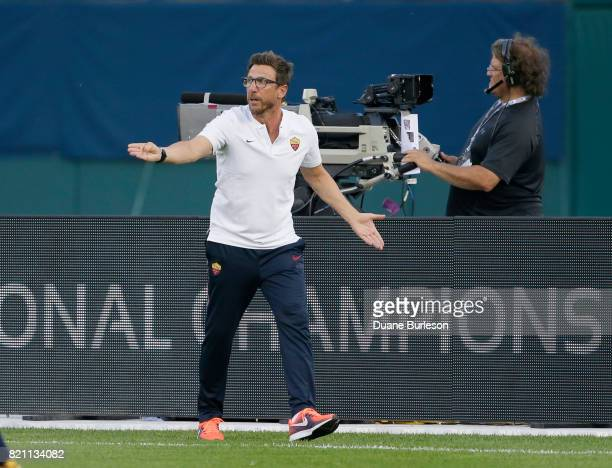 Coach Eusebio Di Francesco of AS Roma gestures during the first half of a match against Paris SaintGermain at Comerica Park on July 19 2017 in...