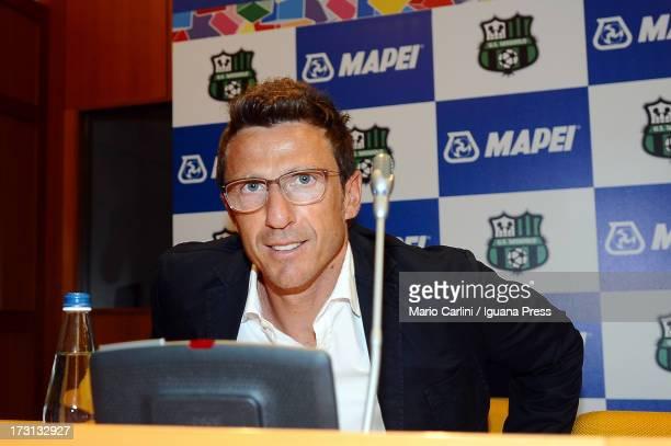 Coach Eusebio Di Francesco of US Sassuolo attends a press conference during the 2013/2014 official team presentation at Palazzina della Casiglia on...