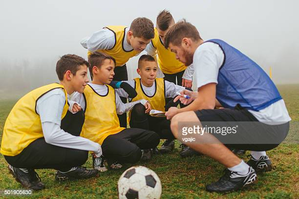 Coach Explaining Strategy To His Kids Soccer Team.