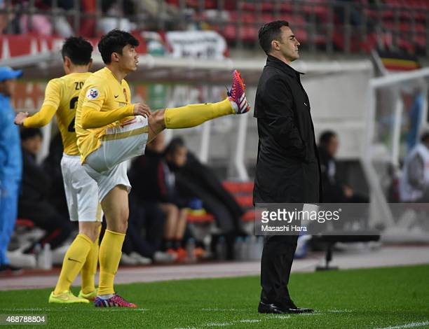 Coach Fabio Cannavaro of Guangzhou Evergrande looks on during the AFC Champions League Group H match between Kashima Antlers and Guangzhou Evergrande...