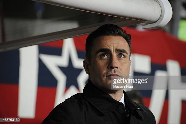 Coach Fabio Cannavaro of Guangzhou Evergrande looks on prior to the AFC Champions League Group H match between Kashima Antlers and Guangzhou...