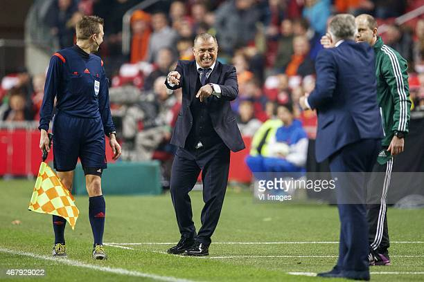 coach Fatih Terim of Turkye coach Guus Hiddink of Holland during the UEFA Euro 2016 qualifying match between Netherlands and Turkey on March 28 2015...