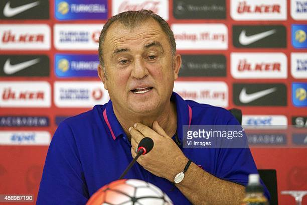 coach Fatih Terim of Turkye during the training session and press conference prior to the UEFA Euro 2016 qualifying match between Turkey and...