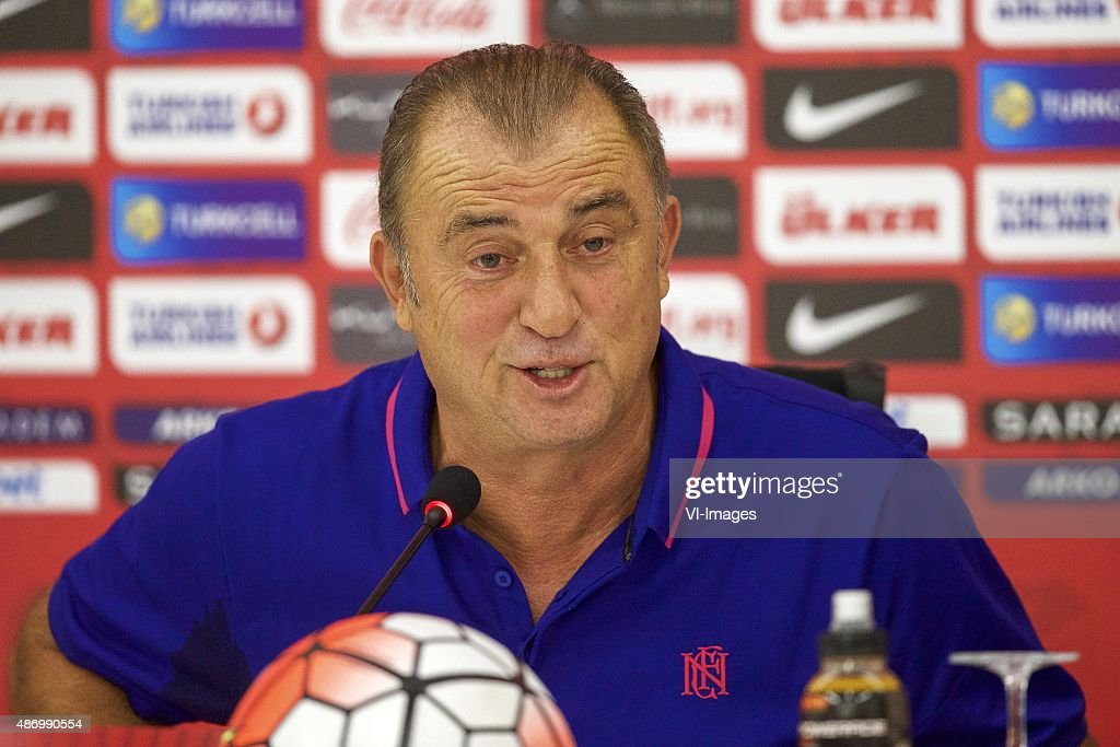 coach <a gi-track='captionPersonalityLinkClicked' href=/galleries/search?phrase=Fatih+Terim&family=editorial&specificpeople=602376 ng-click='$event.stopPropagation()'>Fatih Terim</a> of Turkye during the training session and press conference prior to the UEFA Euro 2016 qualifying match between Turkey and Netherlands on September 5, 2015 at the Konya Büyüksehir Torku Arena in Konya, Turkey