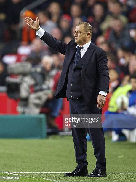 coach Fatih Terim of Turkye during the UEFA Euro 2016 qualifying match between Netherlands and Turkey on March 28 2015 at the Amsterdam Arena at...
