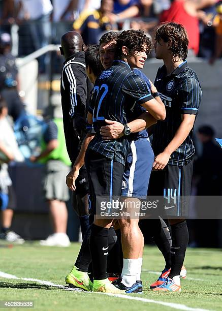 Coach FC Inter Milan Walter Mazzarri and Dodo during the match between FC Internazionale and Real Madrid at California Memorial Stadium on July 26...