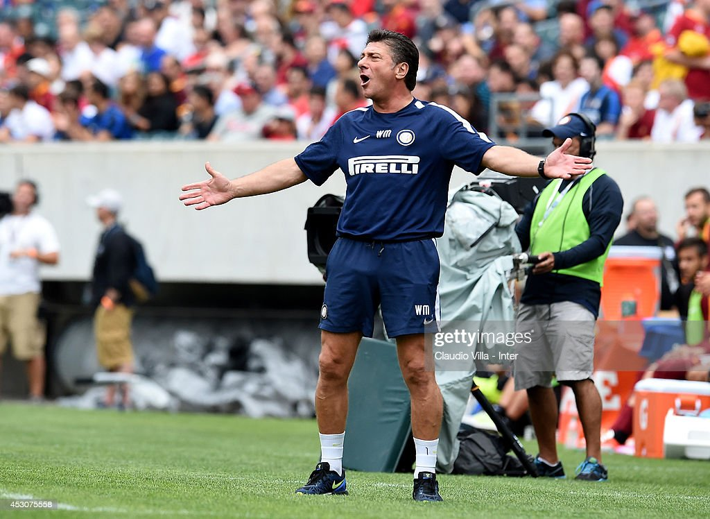 Coach FC Inter Milan <a gi-track='captionPersonalityLinkClicked' href=/galleries/search?phrase=Walter+Mazzarri&family=editorial&specificpeople=5314636 ng-click='$event.stopPropagation()'>Walter Mazzarri</a> reacts during the International Champions Cup 2014 at Lincoln Financial Field on August 2, 2014 in Philadelphia, Pennsylvania.
