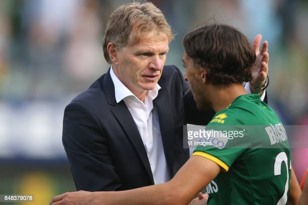 coach Fons Groenendijk of ADO Den Haag Nasser El Khayati of ADO Den Haag during the Dutch Eredivisie match between ADO Den Haag and Ajax Amsterdam at...