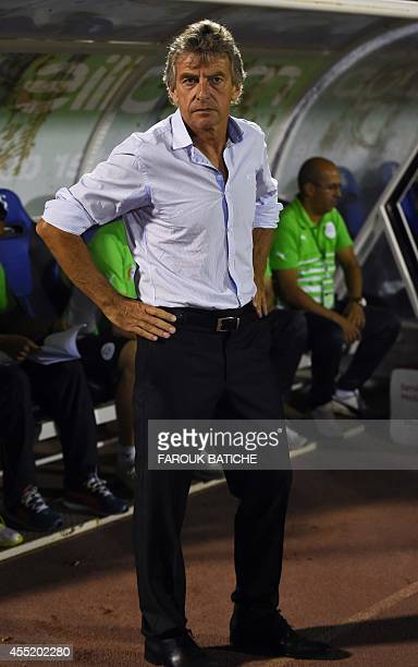 Coach Français Christian Gourcuff of team Algeria watches the action against Mali during their Coupe D`Afrique Des Nations qualifying match September...