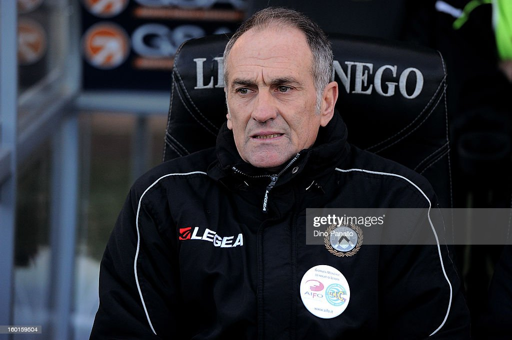 Coach <a gi-track='captionPersonalityLinkClicked' href=/galleries/search?phrase=Francesco+Guidolin&family=editorial&specificpeople=770478 ng-click='$event.stopPropagation()'>Francesco Guidolin</a> of Udinese Calcio looks on during the Serie A match between Udinese Calcio and AC Siena at Stadio Friuli on January 27, 2013 in Udine, Italy.