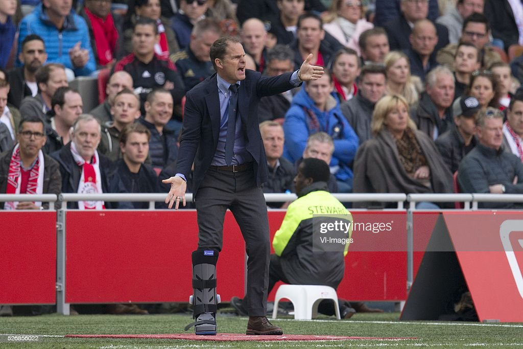 coach Frank de Boer of Ajax during the Dutch Eredivisie match between Ajax Amsterdam and FC Twente at the Amsterdam Arena on May 01, 2016 in Amsterdam, The Netherlands
