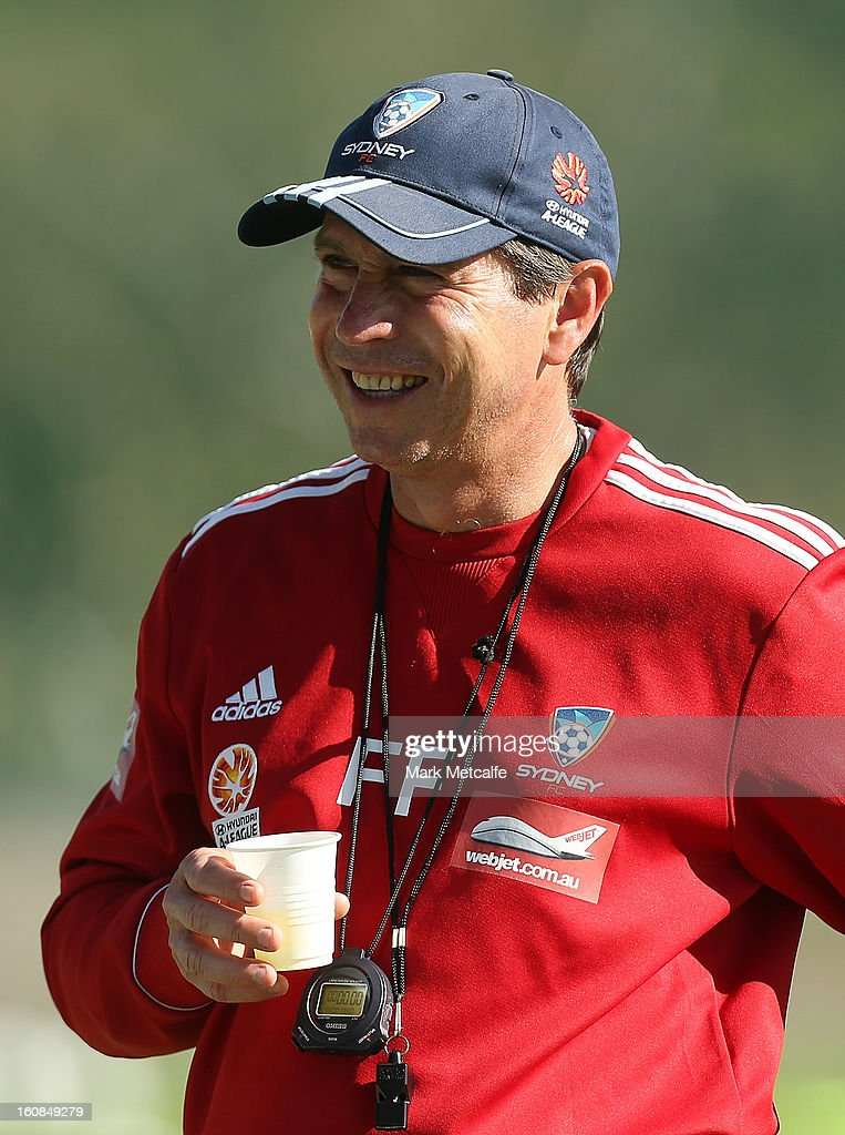 Coach <a gi-track='captionPersonalityLinkClicked' href=/galleries/search?phrase=Frank+Farina&family=editorial&specificpeople=212825 ng-click='$event.stopPropagation()'>Frank Farina</a> smiles during a Sydney FC A-League training session at Macquarie Uni on February 7, 2013 in Sydney, Australia.